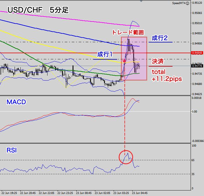 米ドル/スイスフラン(トレード結果)