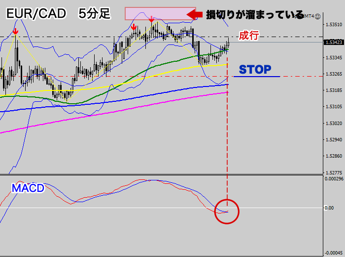 EUR/CAD エントリー位置(5分足チャート2020年6月25)